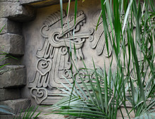 Mayan Bas-relief. The Dragon Exhales Steam From The Mouth. Modern Copy