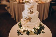White Wedding Cake Decorated W...