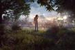 canvas print picture - Frau schaut auf Waldbrandgebiet