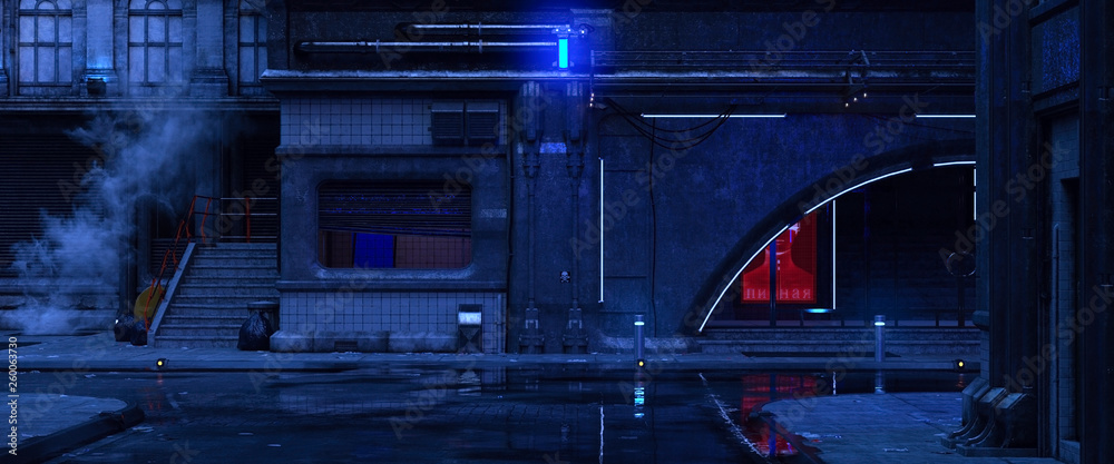 Fototapety, obrazy: 3d illustration of an old building on a street of futuristic city. Beautiful night scene with neon lights in cyberpunk style. Gloomy urban landscape.
