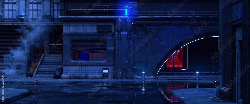 Fototapeta 3d illustration of an old building on a street of futuristic city. Beautiful night scene with neon lights in cyberpunk style. Gloomy urban landscape.