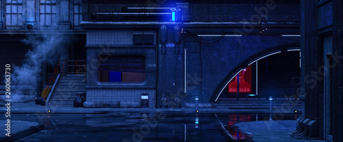 Fototapeta 3d illustration of an old building on a street of futuristic city. Beautiful night scene with neon lights in cyberpunk style. Gloomy urban landscape. obraz