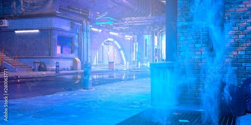 Obraz Photorealistic 3d illustration of the futuristic city in the style of cyberpunk. Empty street with neon lights. Beautiful night scene. - fototapety do salonu