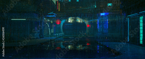 fototapeta na lodówkę Futuristic city landscape. Rainy night scene. Photorealistic 3d illustration of the cityscape in the style of cyberpunk. Empty street with neon lights reflected on the wet pavement.