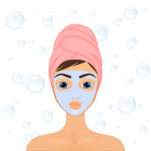 Girl Cares And Protects Her Face With Various Actions, Facial, Treatment, Beauty, Healthy, Hygiene, Lifestyle, Set, In A Towel, Mask,