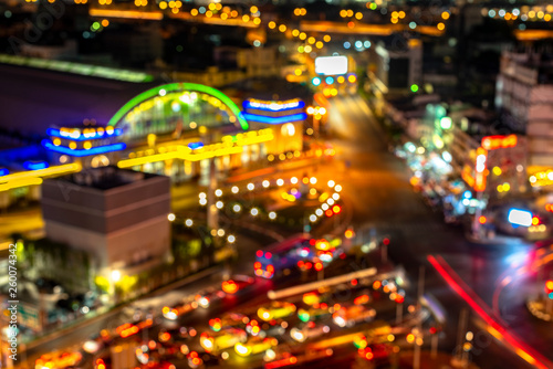 Fototapety, obrazy: abstact blur bokeh of Evening traffic jam on road in city., night scene., Blur Images not Focus