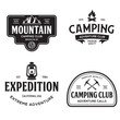 Summer camp with design elements. Camping and outdoor adventure emblems. Vintage typography design with mountain, lamp and campfire silhouette.