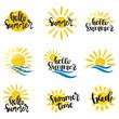 Summer hand drawn lettering elements set vector