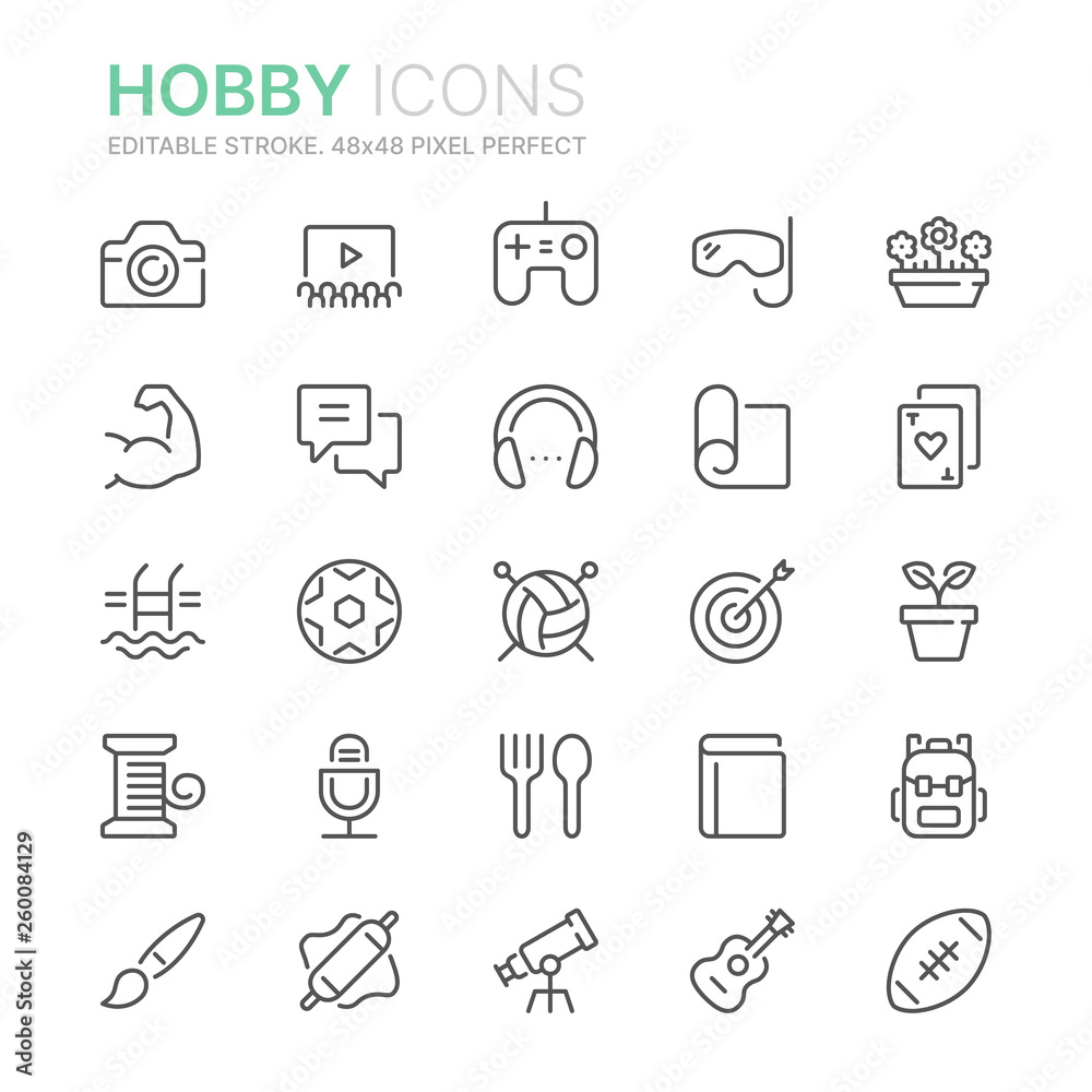 Fototapety, obrazy: Collection of hobbies line icons. 48x48 Pixel Perfect. Editable stroke