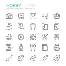 Collection Of Hobbies Line Ico...