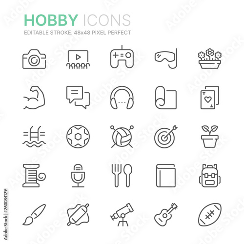 Photo  Collection of hobbies line icons