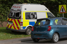 . April 2019. Police Van Parked On A Grass Verge With  A Rear Camera Checking For Speeding Motorists