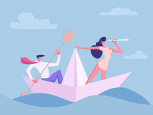 Business People Characters On Paper Ship. Businesswoman With Spyglass And Businessman In Boat. Teamwork, Cooperation, Strategy Concept Metaphor Banner. Vector Flat Illustration