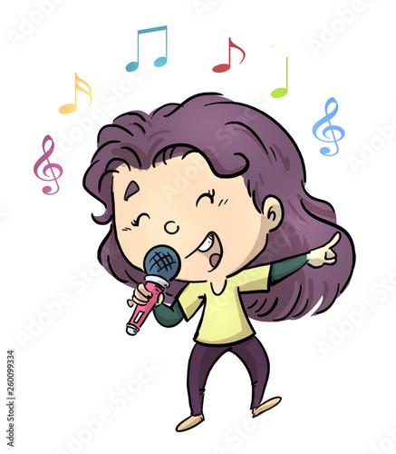Fotografía niña cantando con microfono