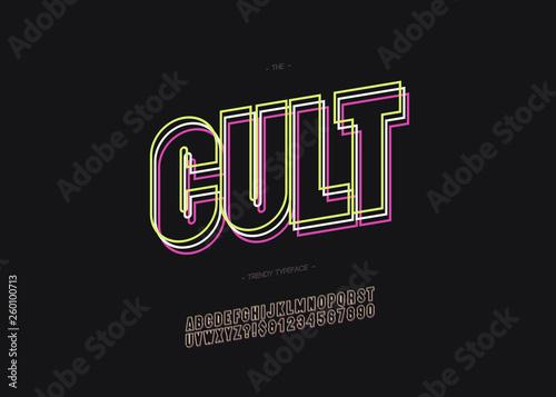Fototapeta Vector cult alphabet bold line style