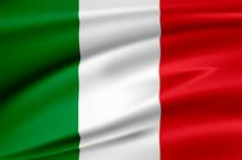 Flag Italy, Italian Republic.  Smooth Illustration Of  Close-up.
