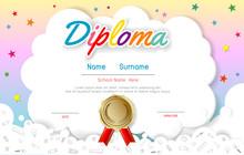 Certificates Kindergarten And Elementary, Preschool Kids Diploma Certificate Pattern Design Template, Diploma Template For Kindergarten Students, Certificate Of Kids Diploma