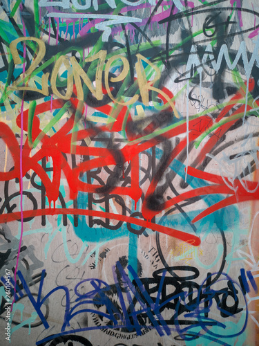abstract graffiti urban art on street wall