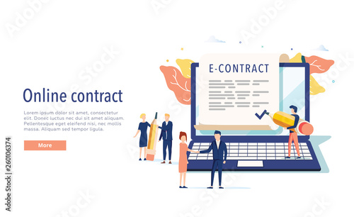 smart digital contract vector illustration concept, businessman signing online contract agreement with laptop