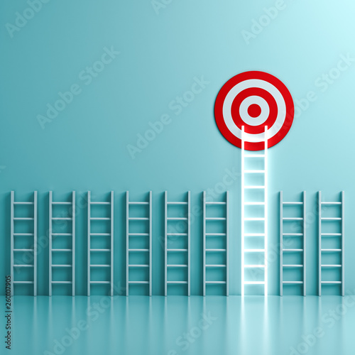 Fototapeta The longest neon light ladder reaching for the bright goal target dartboard the business creative idea concepts on green pastel color wall background with shadows and reflections 3D rendering obraz