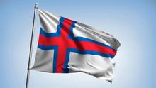 Waving The Flag Of The Faroe Islands On The Flagpole. Kingdom Of Denmark - Colors Of The Sheep Islands Flag Illustration