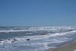 waves on the beach,, sky, coast, blue,horizon, seascape,foam, white, sun