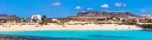 Best Beaches Of Fueteventura - Beautiful La Concha In El Cotillo.Canary Islands
