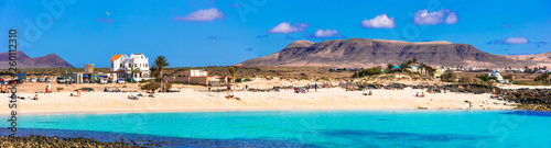 best beaches of Fueteventura - beautiful La Concha in El Cotillo.Canary islands