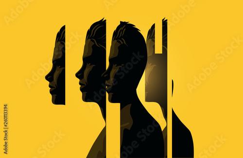 Obraz A Male Head Split Into Sections - fototapety do salonu
