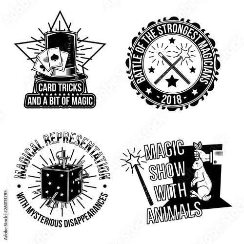 Canvas Print Set of magical emblems, labels, badges