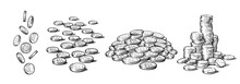 Sketch Style Set Of Coins In Different Positions. Falling Dollars, Pile Of Cash, Stack Of Money. Black And White Hand Drawn Collection White Background. Vector Illustration.