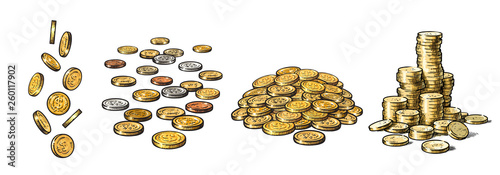 Fotografía  Set of gold coins in different positions