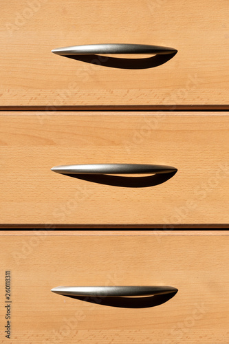 Plain Wooden Drawers With Metal Handles And Shadow For Office Home