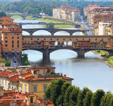 bridges in Florence and Old Birdge called Ponte Vecchio over Arn