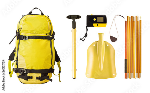 Set of avalanche equipment and gear for freeride Fotobehang