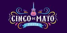 Mexican Holiday Card Cinco De Mayo 5 May. Decorative And Traditional Mexican Elements Guitar, Sombrero. Mexican Symbols. Vector Greeting Card