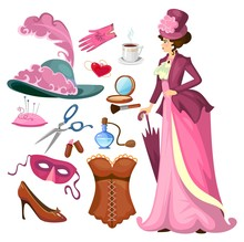 Victorian Lady Fashion Collection In Cartoon Style. Vintage Clothing Set Corset,shoes, Hat, Perfume, Umbrella, Sewing Kit, Cosmetics Etc. Vintage Women's Fashion Accessories. Vector Illustration
