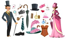 Victorian Lady And Gentlemen Fashion Collection In Cartoon Style. Vintage Clothing Set Corset,shoes, Hat, Perfume, Umbrella, Sewing Kit, Razor Etc. Vintage Men's Women's Fashion Accessories.