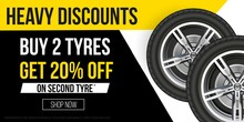 Car Tyres Promotion Banner. Realistic Tyres With Promo Text For Flyers, Banners Etc. Vector Sale Banner Illustration