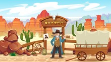 Wild West Cartoon Illustration...