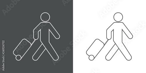 Valokuvatapetti Icono plano lineal turista con maleta en gris y blanco