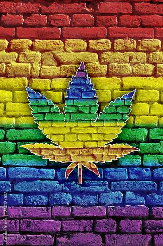 Cannabis leaf on a multicol...