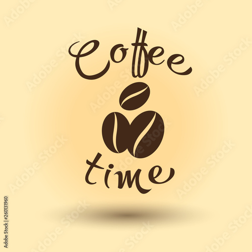Fotografie, Obraz  Coffee time with coffee beans. Vector illustration