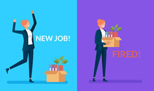 Business Woman Office Worker Character Find New Job And Lost. Being Hired And Fired Concept. Vector Design Graphic Flat Cartoon Isolated Illustration