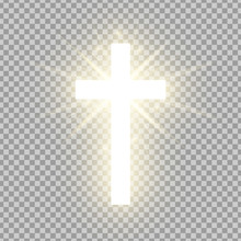 Shining Gold Cross Isolated On Transparent Background. Riligious Symbol. Glowing Saint Cross. Easter And Christmas Sign. Vector Illustration