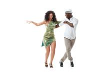 Elegant Black Man And Gorgeous Latin Girl Dancing Samba Isolated On White Background.