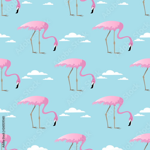 Canvas Prints Flamingo Bird Abstract vector Seamless summer tropical pattern with flamingo and clouds
