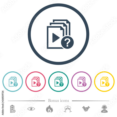 Fotografia  Unknown playlist flat color icons in round outlines