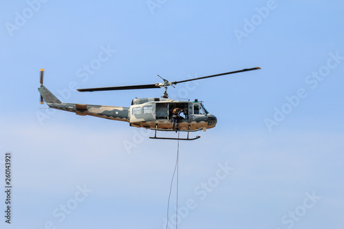 Fotografie, Obraz  Military helicopter show on children's Day in Chiang Mai,Thailand