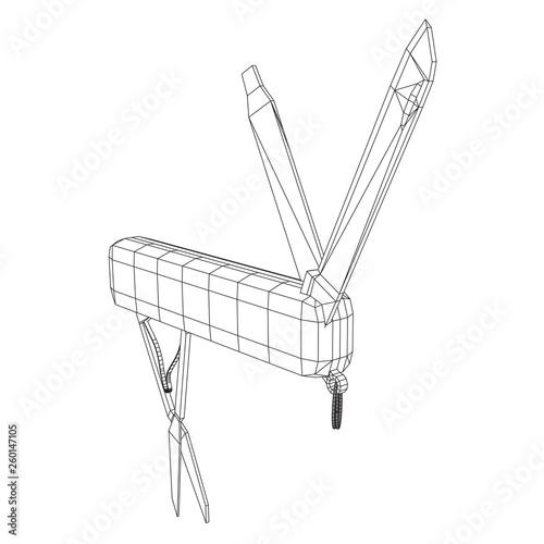 Fotografie, Obraz  Multi-tool folding pocket knife, multipurpose penknife
